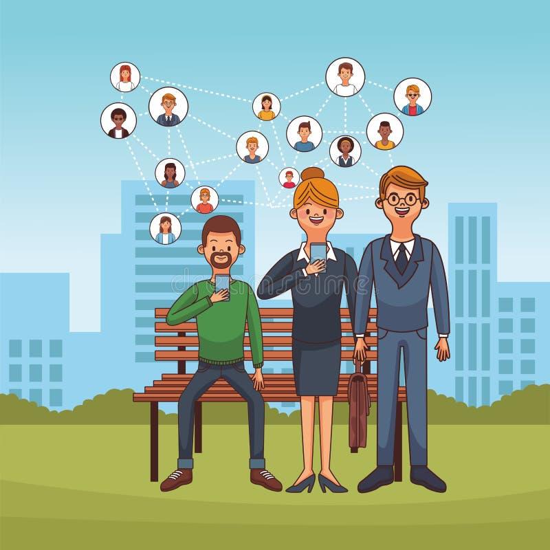 Mensen en sociak netwerken stock illustratie
