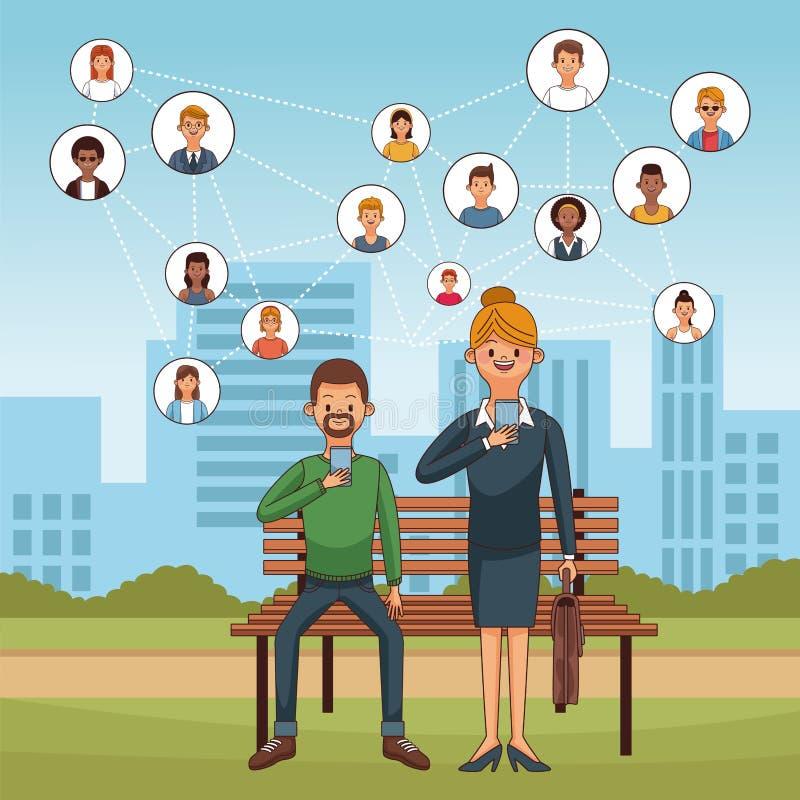 Mensen en sociale media royalty-vrije illustratie