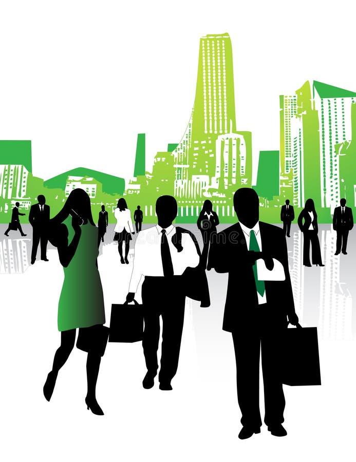 Mensen en stad royalty-vrije illustratie