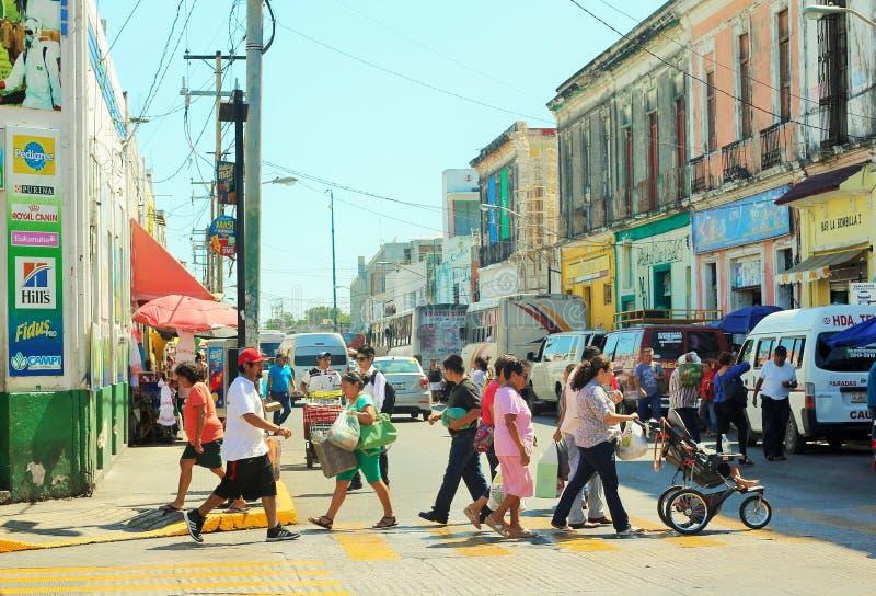 Mensen en straten stock afbeelding