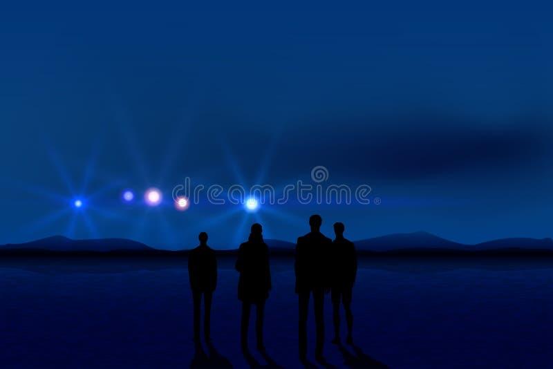 Mensen en UFO vector illustratie