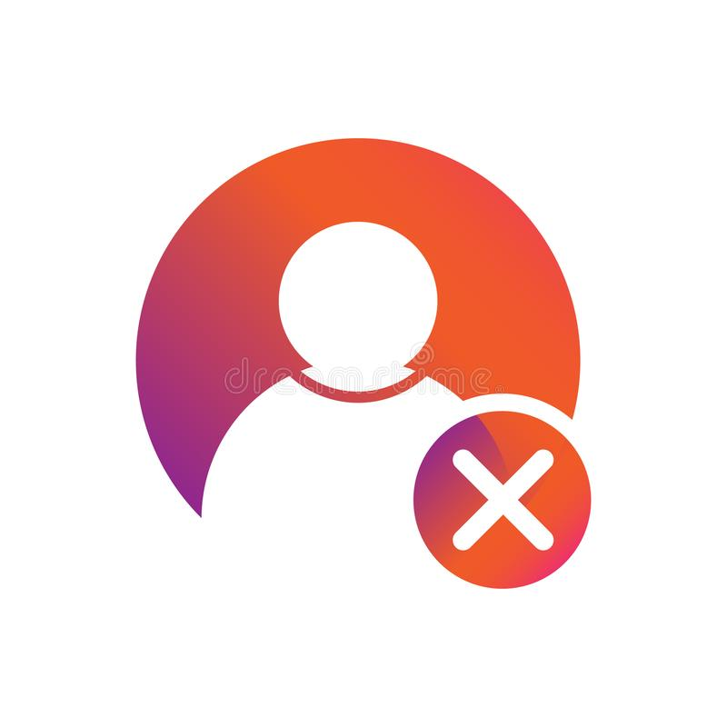 Mensen/gebruikerspictogram met x-brief als vectorpictogram van het schrappingssymbool royalty-vrije illustratie