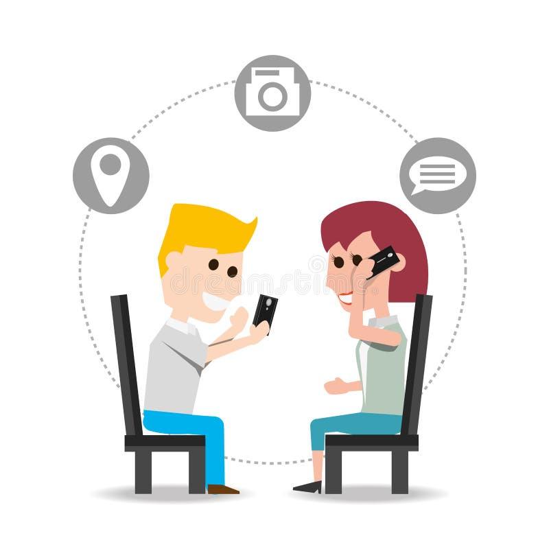 Mensen gezet die en met smartphone worden de geroepen en spreken vector illustratie