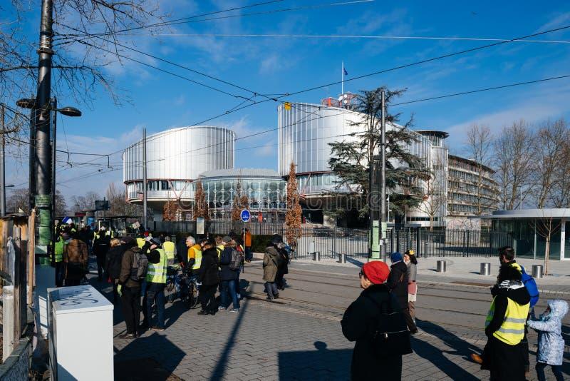 Mensen Gilets Jaunes of Geel Vestprotest in Straatsburg Frankrijk stock fotografie