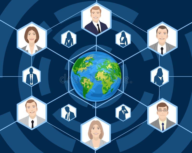 Mensen in globale zaken stock illustratie