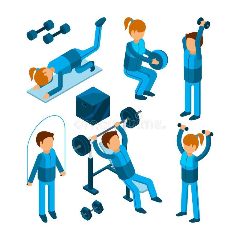 Mensen in gymnastiek De sportkarakters die cardio de pompoefeningen van het sterktelichaam in fitness maken centreren vectorillus stock illustratie