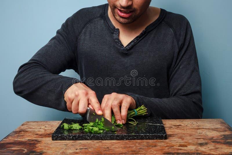 Mensen hakkende kruiden stock foto's
