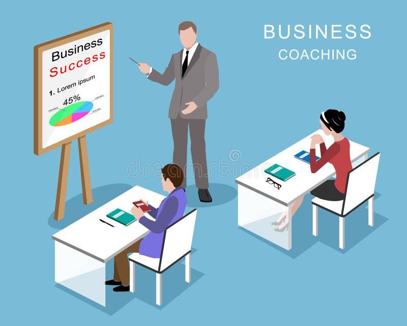 Mensen in het bureau Bedrijfs het trainen proces 3d isometrische bedrijfsmensen met bedrijfsbus vector illustratie