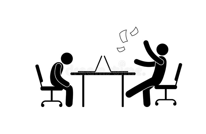 Mensen in het bureau, het pictogram van het stokcijfer, droevige en blije werknemers stock illustratie