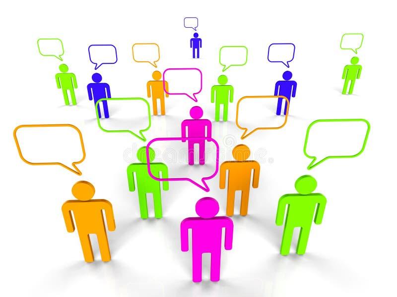 Mensen het Communiceren vertegenwoordigt Netwerkserver en Mededeling royalty-vrije illustratie