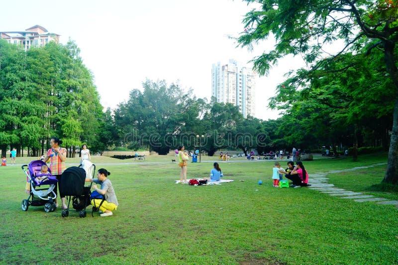 Mensen in het gazon van het vrije tijdspark, China royalty-vrije stock afbeelding