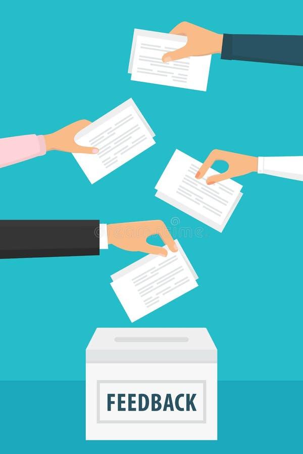 Mensen het houden koppelt documenten en het zetten van hen in stembus terug vector illustratie