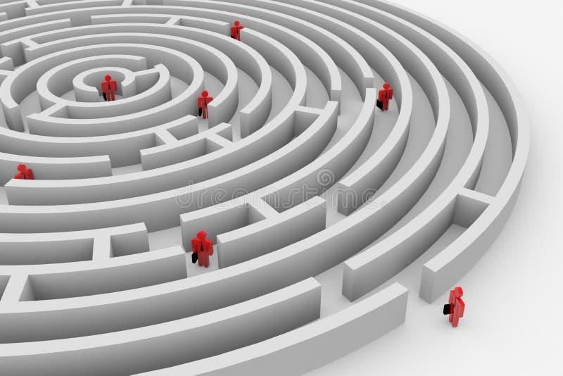 Mensen in het labyrint. Zoek van oplossing. Team. stock illustratie