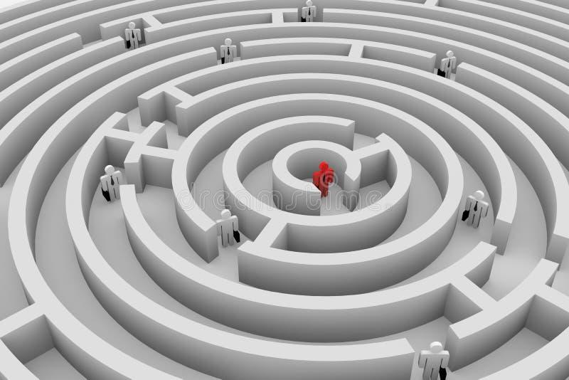 Mensen in het labyrint. Zoek van oplossing. Team. vector illustratie