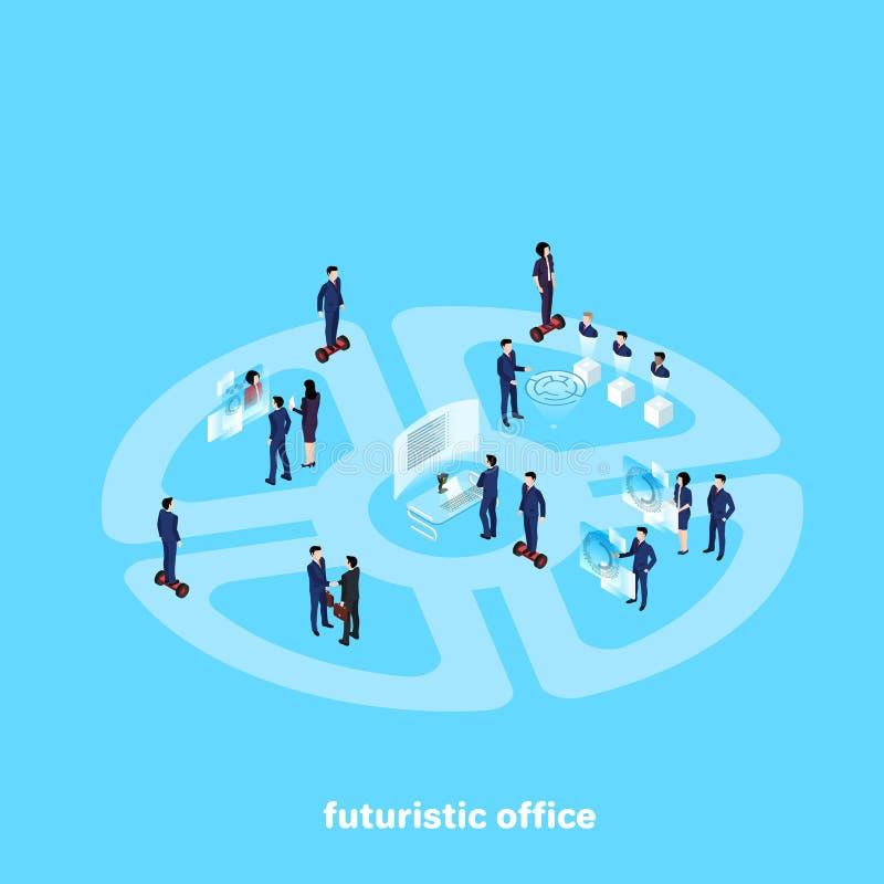 Mensen in het pakkenwerk in het futuristische bureau van de toekomst royalty-vrije illustratie