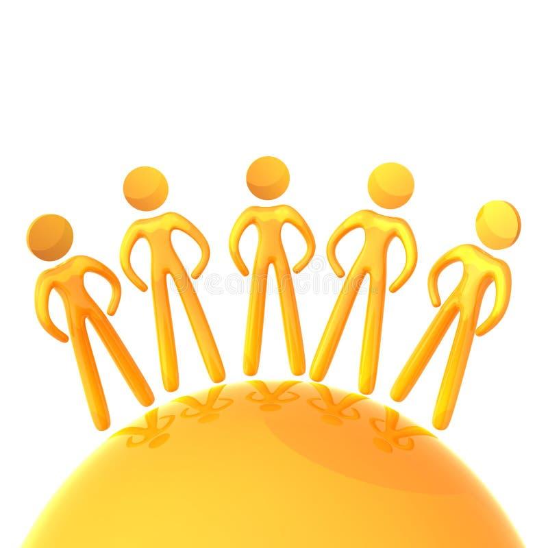 Mensen in het pictogram van de wereldeenheid stock illustratie