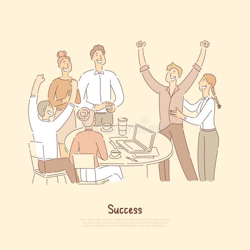 Mensen het vieren voltooiing die samen, medewerker gelukwensen met baanbevordering, gelukkig over het bereiken van doelstellingen vector illustratie
