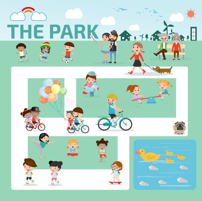 mensen in het vlakke ontwerp van park infographic elementen, familie in de vector van de parkillustratie vector illustratie