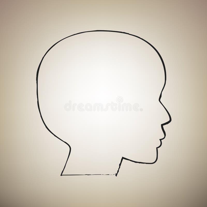 Mensen hoofdteken Vector De borstel drawed zwart pictogram bij lichtbruin vector illustratie