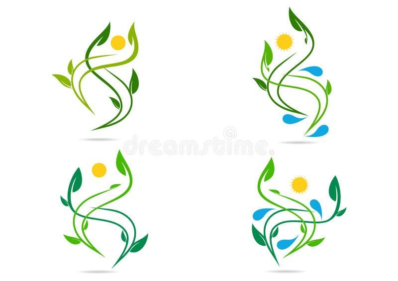 Mensen, installatie, natuurlijk water, embleem, gezondheid, zon, blad, ecologie, het ontwerp vectorreeks van het symboolpictogram royalty-vrije illustratie