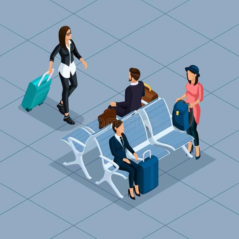 In Mensen Isometrische vector 3D zakenman, bedrijfsvrouw, jonge vrouw, bij de luchthaven, wachtkamer, winkels, bagage, reis, vector illustratie
