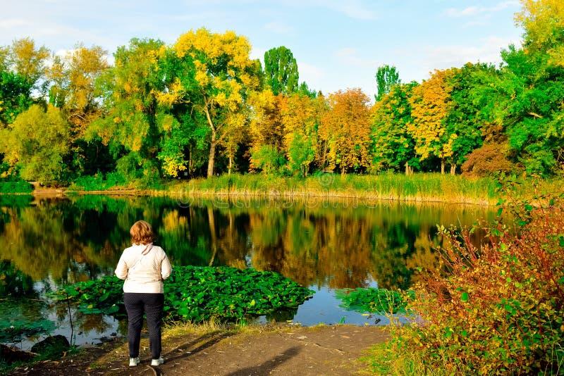 Mensen kijken naar natuurplanten, rivieren en meren, vogels royalty-vrije stock foto's