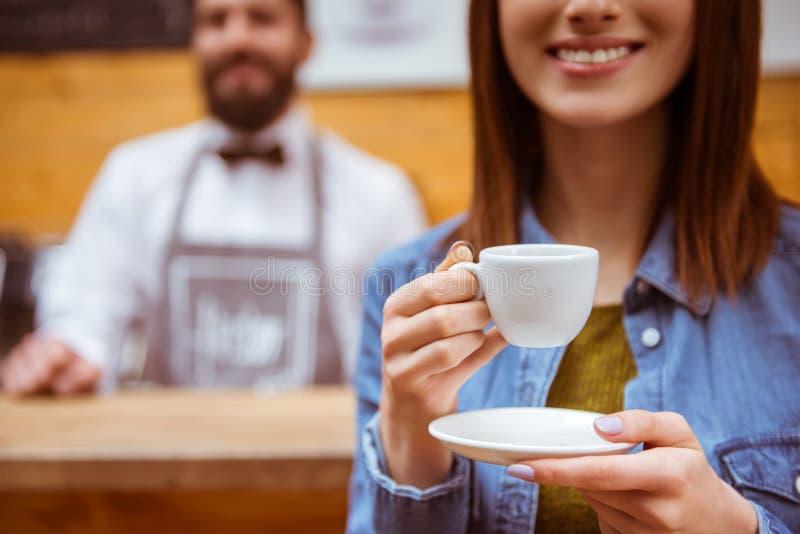 Mensen in koffie royalty-vrije stock foto's