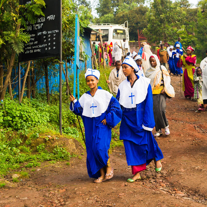 Mensen in LALIBELA, ETHIOPIË royalty-vrije stock afbeelding