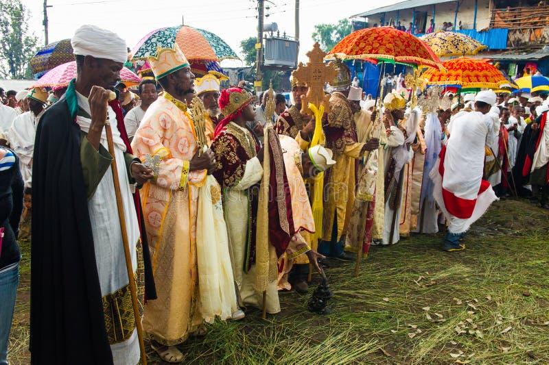 Mensen in LALIBELA, ETHIOPIË royalty-vrije stock fotografie