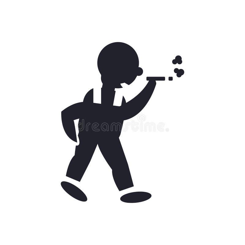 Mensen lopend en rokend pictogram vectordieteken en symbool op witte achtergrond, Mens wordt geïsoleerd die en het roken embleemc royalty-vrije illustratie