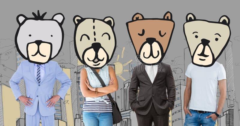 Mensen met beer dierlijke hoofdgezichten in stad stock afbeelding