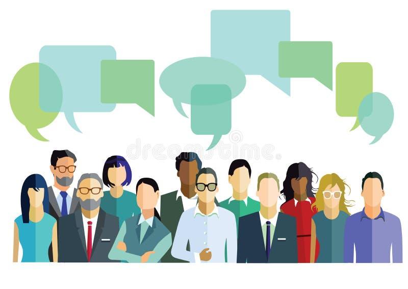 Mensen met dialoogbellen royalty-vrije illustratie