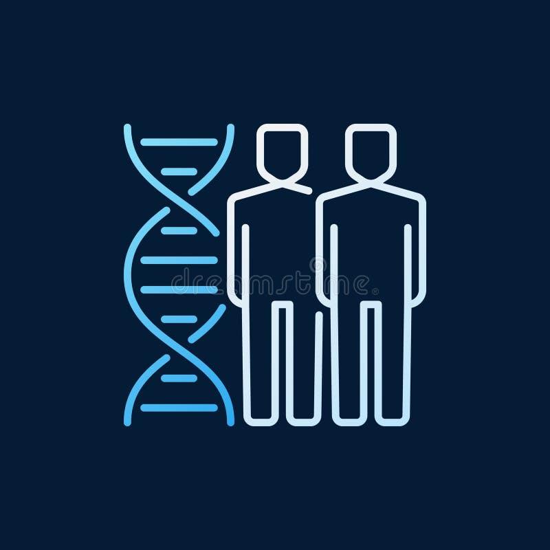 Mensen met dubbel de schroef vector lineair gekleurd pictogram van DNA vector illustratie