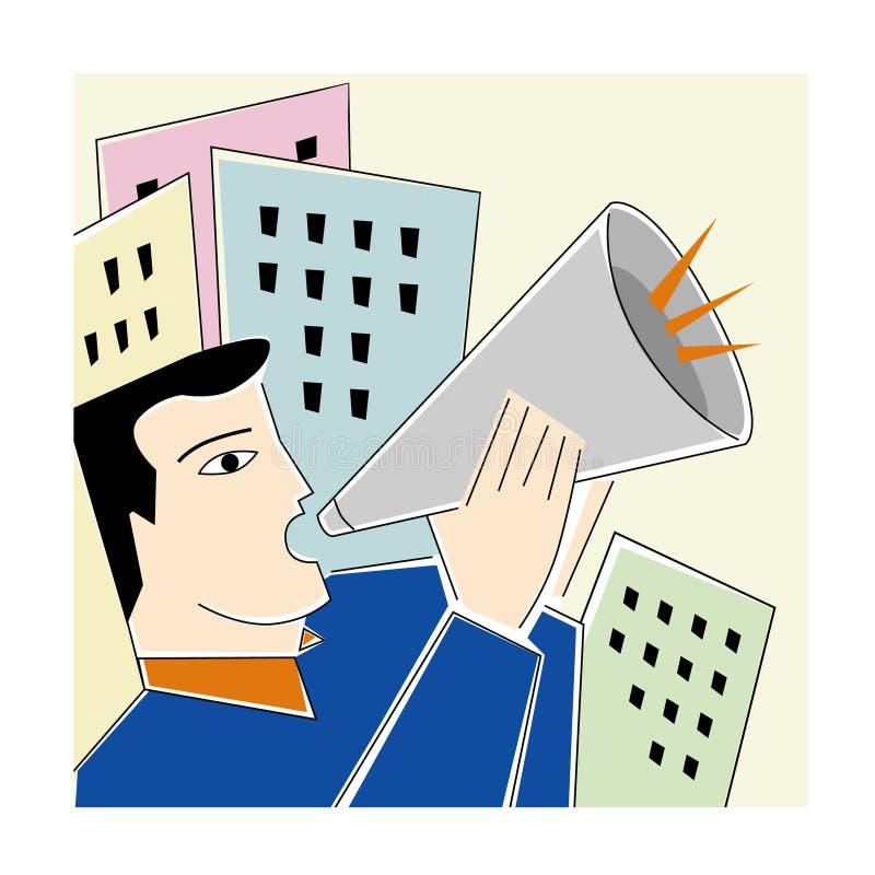 Mensen met een megafoon stock illustratie