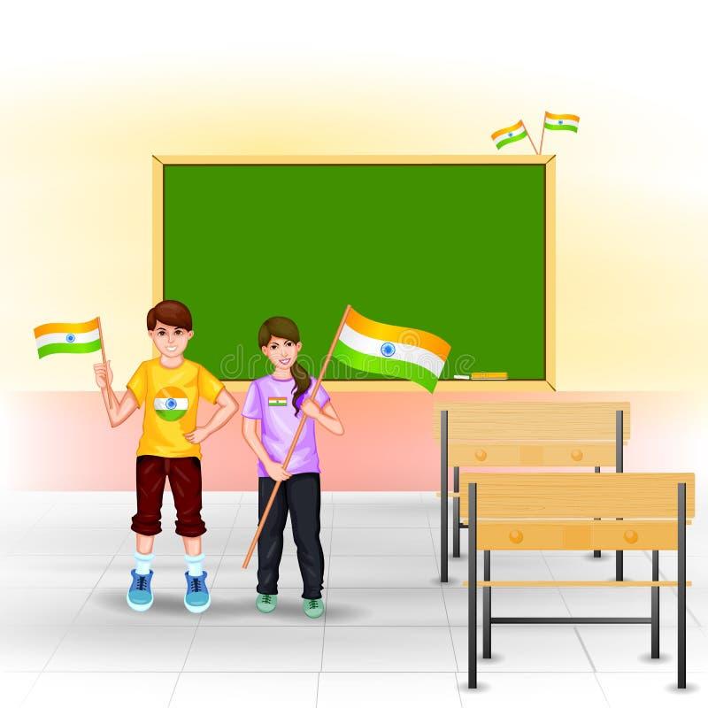 Mensen met Indische vlag royalty-vrije illustratie