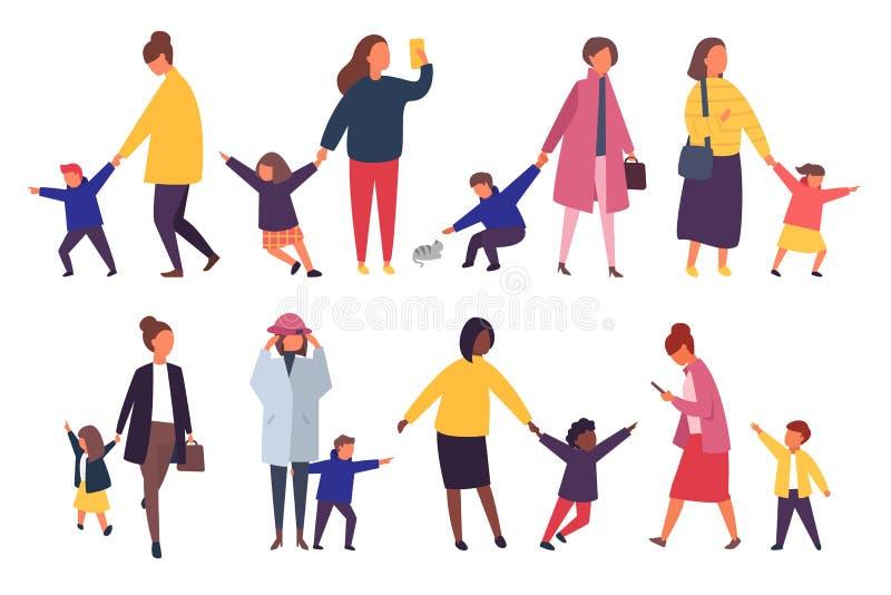 Mensen met jonge geitjes Bezige ouders met ongehoorzame kinderen Vector illustratie royalty-vrije illustratie