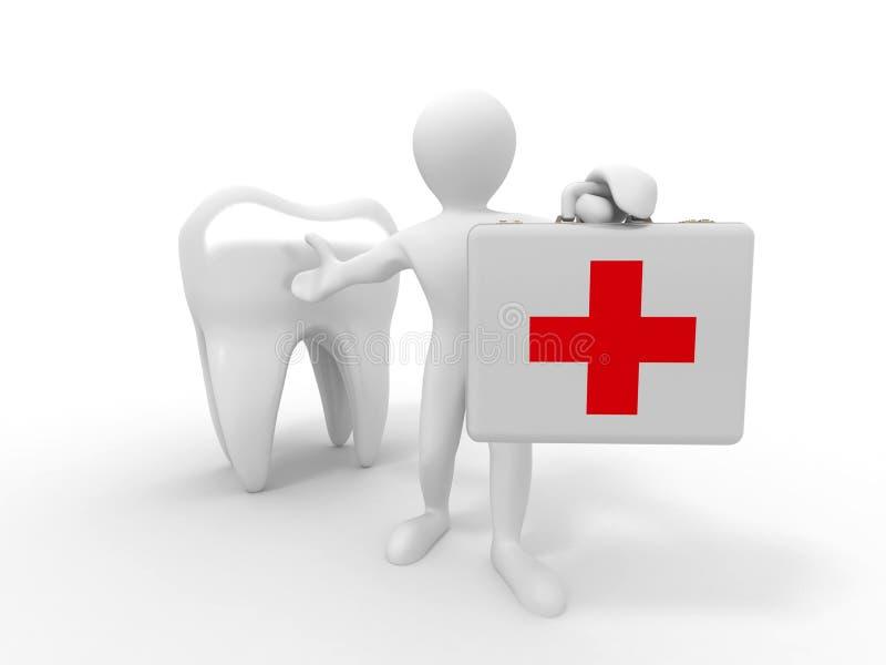Mensen met medisch geval en tand royalty-vrije illustratie