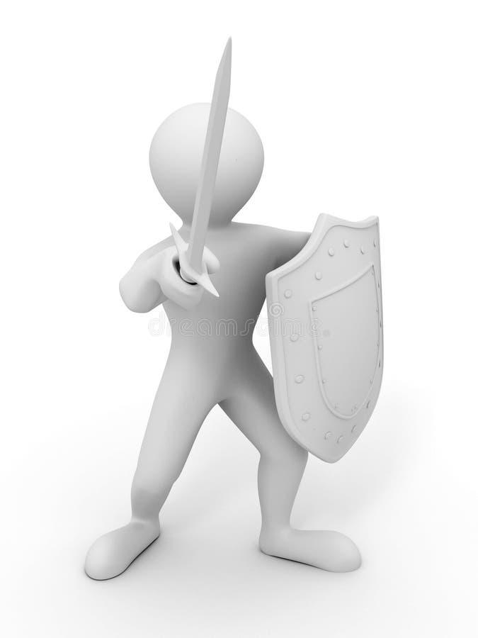 Mensen met schild en zwaard royalty-vrije illustratie