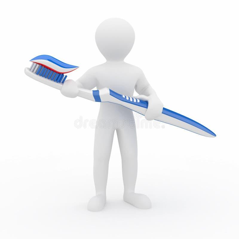 Mensen met tandenborstel. 3d stock illustratie