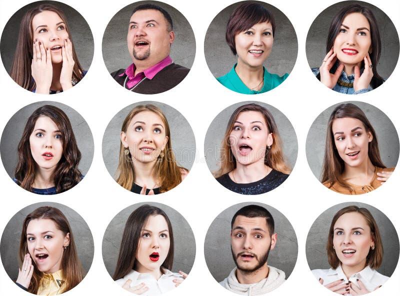 Mensen met verschillende gelaatsuitdrukkingen stock afbeelding
