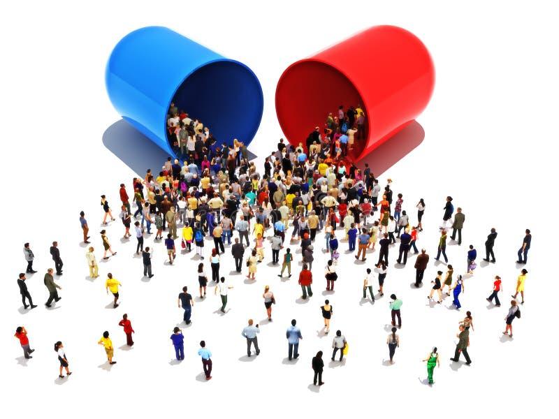 Mensen met verslaving aan pillenconcept Grote groep die mensen naar en in een open medicijn of een drug van de pillencapsule lope vector illustratie