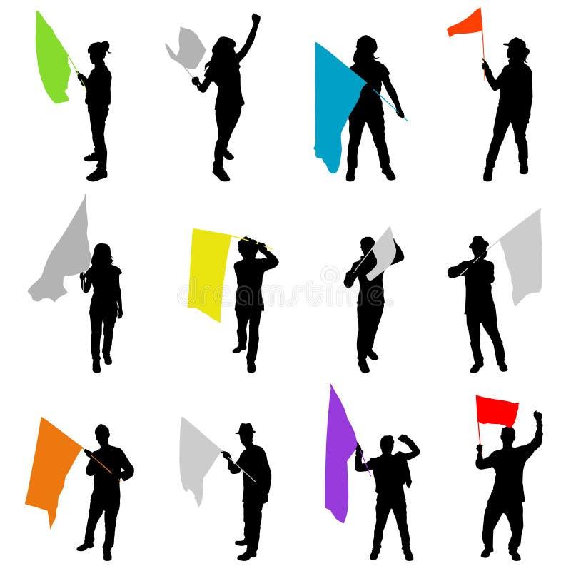 Mensen met vlag stock illustratie