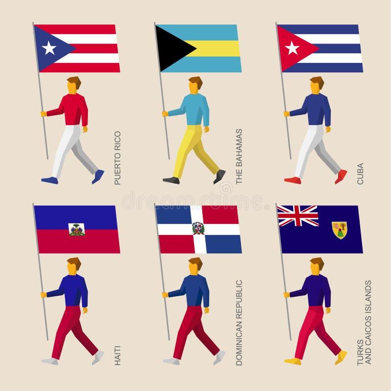 Mensen met vlaggen: Cuba, Dominicaanse Republiek, Haïti, de Bahamas royalty-vrije illustratie