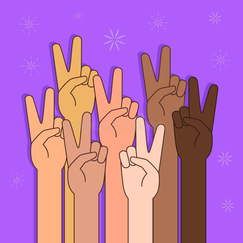 Mensen met Vrede of Victory Sign Illustration royalty-vrije illustratie