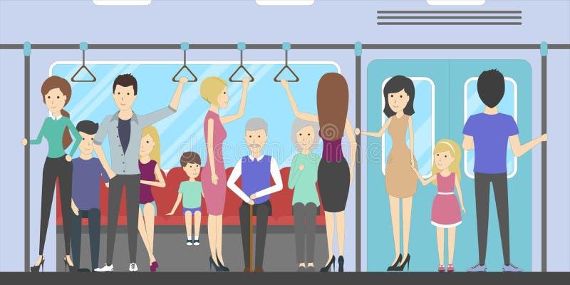 Mensen in metro stock illustratie
