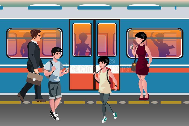 Mensen in metro openbaar vervoer stock illustratie