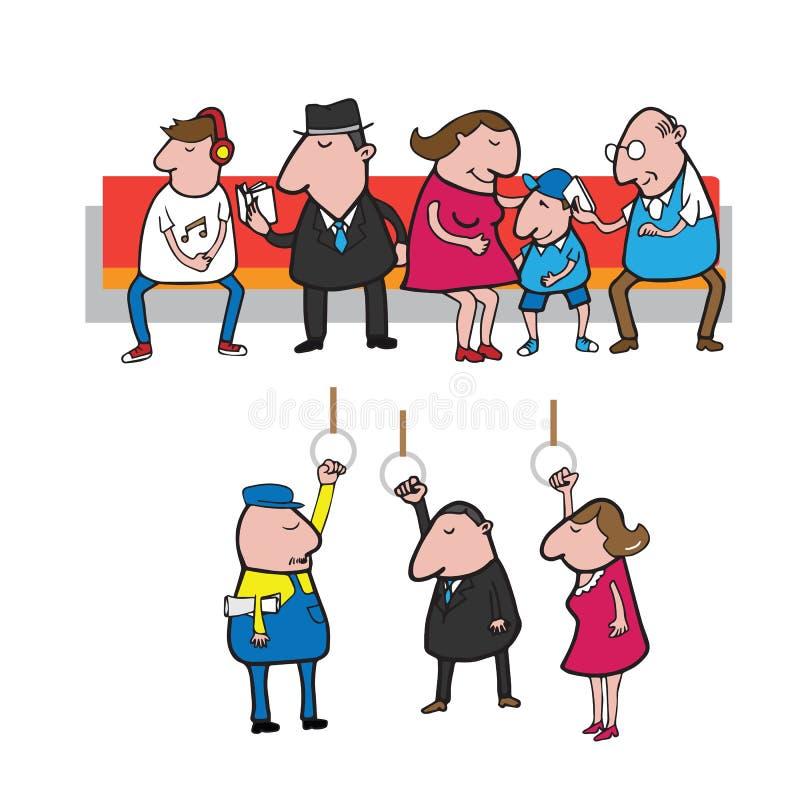 Mensen in metrobeeldverhaal stock illustratie