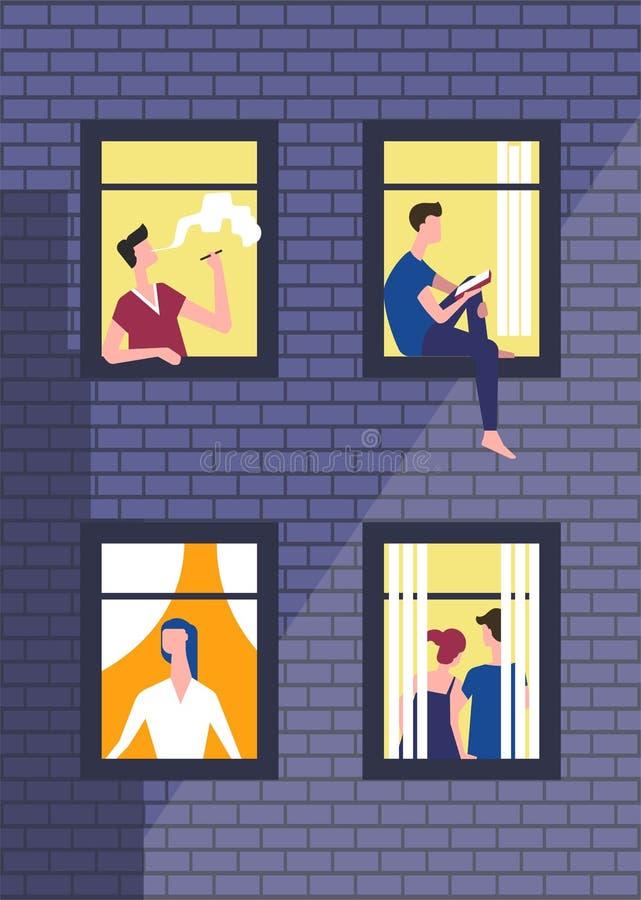 Mensen in nachtvensters in dagelijks werk Vectormens of jongen die en in venster roken kijken royalty-vrije illustratie