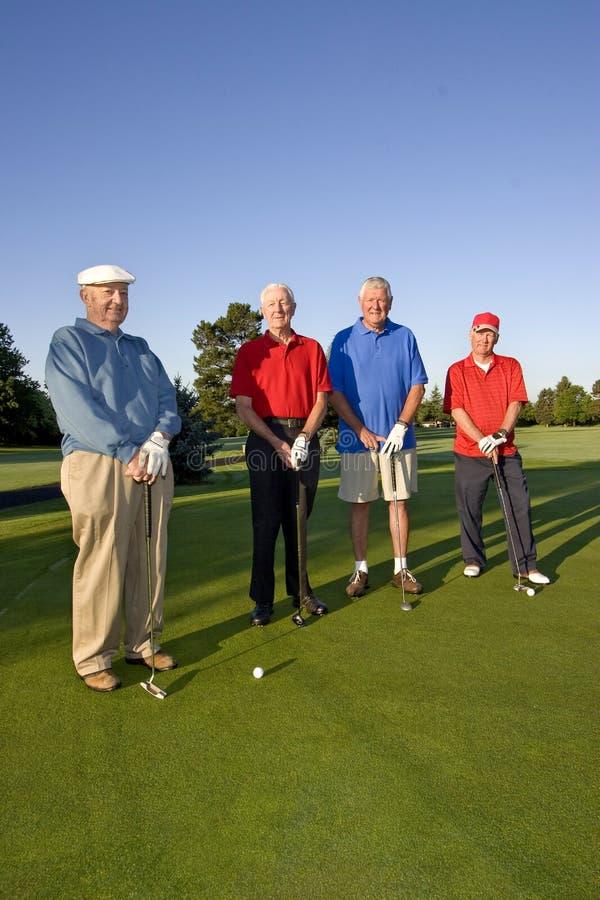 Mensen op Cursus met Clubs royalty-vrije stock afbeelding