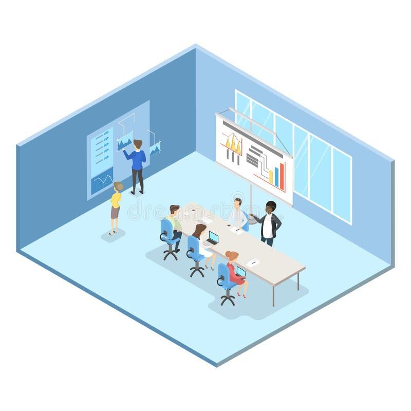 Mensen op de commerciële vergadering in de conferentieruimte vector illustratie
